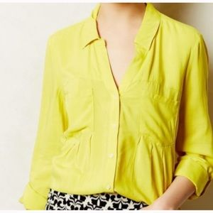 Maeve Chartreuse Yellow Button Down Blouse